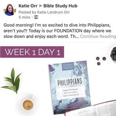 Our online study through Philippians has begun! Its not too late to join us. I have a document with links to the daily discussions so you can enter the conversation at any time.  It all happens over at biblestudyhub.com. Cmon over!