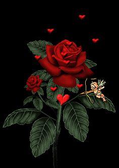 rosa del cuore.gif - Rose glitter grafica glitter immagini fiori gif animate-Roses glitter graphics glitter flowers animated gif images Graf...