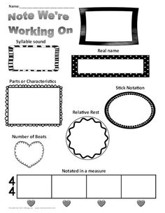 Fun looking worksheet to do in class to help students learn note names and lengths! Music Math, Music Classroom, Classroom Resources, Classroom Ideas, Classroom Organization, Elementary Music Lessons, Piano Teaching, Teaching Career, Teaching Ideas