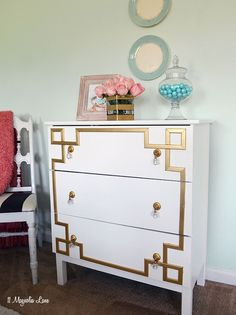 IKEA Tarva dresser is hacked to a glamorous gloss white dresser with a DIY gold greek key overlay. Step by step tutorial.