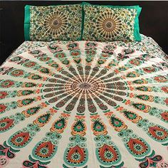 This vibrant, colorful bedding is available as a duvet cover, flat sheet, pillowcase set or any combination of the three. Instantly add flair to any room. Available queen size. Twin available on reque