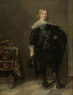 Harmen Willems Wieringa   Portrait of a young Man, Harmen Willems Wieringa, 1636   Portret van een welgestelde jongen. Staande, ten voeten uit, met de hoed in de rechterhand. Links een tafel waarop enkele boeken staan.