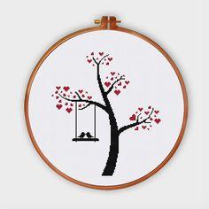 Bird Love on Tree cross stitch pattern cross stitch