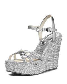 874fc16f386 Cicely Metallic Wedge Sandal by MICHAEL Michael Kors at Neiman Marcus.  Metallische Schuhe Mit Keilabsatz