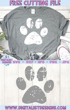 Free Grunge Pawprint SVG - Cricut T Shirts - Ideas of Cricut T Shirts - Free Grunge Pawprint SVG cut file! This would be amazing for a variety of DIY Animal craft projects such as: HTV T-shirts mugs home decor scrapbooking stickers Plotter Silhouette Cameo, Silhouette Cameo Projects, Silhouette Studio, Dog Silhouette, Silhouette Files, Silhouette Cameo Shirt, Silhouette Cameo Freebies, Silhouette Images, Silhouette America