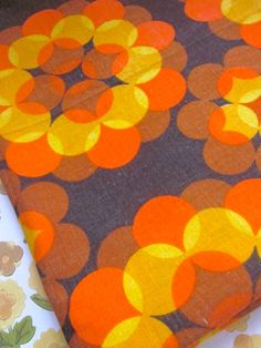 Vintage 1970s Orange And Brown Print Fabric by Pommedejour on Etsy