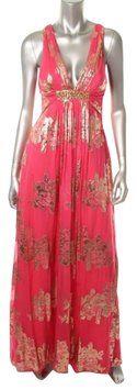 Xscape Dark Pink/Coral Gold Empire Waist Backless Silk Dress $124