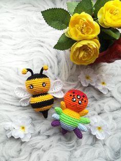 Set of 4 crochet patterns - amigurumi bee, spider, bug and ladybug Crochet Animal Patterns, Crochet Doll Pattern, Stuffed Animal Patterns, Crochet Patterns Amigurumi, Crochet Dolls, Handmade Ideas, Handmade Toys, Handmade Crafts, Pattern Cute