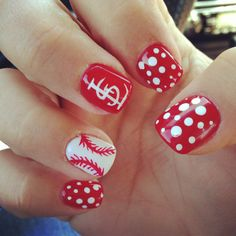 A couple of faves to try for my nails: Cardinals baseball and polkadots! Fancy Nails, Love Nails, How To Do Nails, Pretty Nails, My Nails, Shellac, Baseball Nails, Baseball Nail Designs, Softball Nails