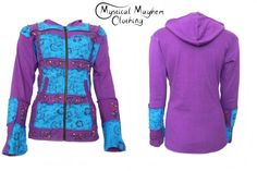 Bares Over-stitched Patchwork Floral Hooded Jackets Purple/Turquoise