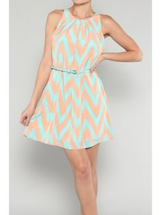 Mint/Peach Belted Chevron Dress