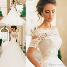 2016 Ball Gown Wedding Dresses Long Sleeves Bridal Dresses Illusion Neckline Luxury Wedding Gowns with Rhinestones/Pearls/Crystals 2018 from beriacoltd, $150.76 | DHgate Mobile