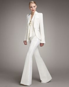 I love this off white suit. Pants are a little wide for my taste but its super cute and classy.