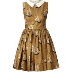 Orla Kiely Around The World Print Silk Twill Sleeveless Dress (£179) ❤ liked on Polyvore featuring dresses, vestidos, sand, zip dress, rouched dress, collar dress, zipper dress and sleeveless dress