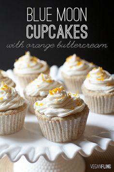 VeganFling: Blue Moon Cupcakes with Orange Buttercream Frosting... [sub Oberon...?]