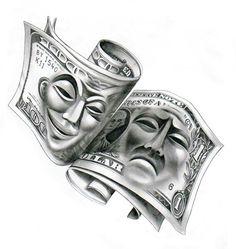 Angels tattoo design by on DeviantArt – Tattoo Pattern Gangster Tattoos, Dope Tattoos, Skull Tattoos, Body Art Tattoos, Hand Tattoos, Tattoos For Guys, Sleeve Tattoos, Clown Tattoo, Chicano Tattoos Gangsters