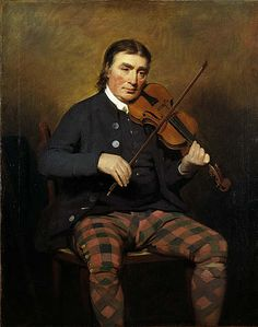 Niel Gow (1727-1807). Violinist & composer, 1787, by Sir Henry Raeburn. Scotland's most famous fiddler & composer of strathspeys & reels, lived in the cottage where he had been born, just outside Dunkeld, Perthshire. Travelled all over the country playing at balls & festivities. He was known for accompanying his playing with an occasional sudden shout, which startled and excited the dancers. Poet Robert Burns visited Gow was struck by the sitter's open heartedness & honest, simple…