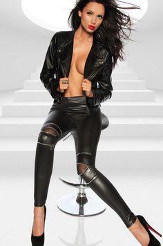 Women's Three Zipper Black Leggings Sexy Leather Leggings Leather Pants #CutiesBoutique #CasualGoingOut