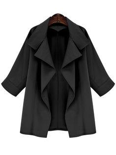 Black Lapel Long Sleeve Loose Coat 25.17