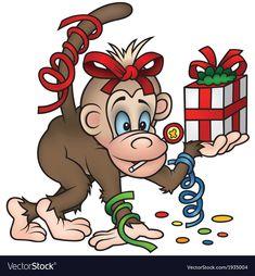 Monkey And Gift vector image on VectorStock Gift Vector, Single Image, Adobe Illustrator, Bowser, Vector Free, Monkey, Web Design, Cartoon, Illustration