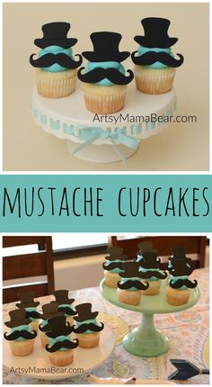 Mustache cupcakes - little man baby shower, little man birthday party