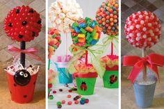 Los topiarios o arbolitos de golosinas están muy de moda para decorar mesas dulces o Candy bar. Te gustaría aprender a hacerlos?