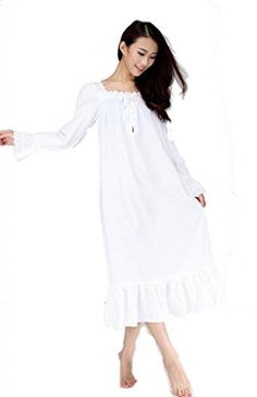 44a6a2299d9 European style Long Sleeve Vintage Design Nightdress White Romantic Classic  Princess nightgown (XXS