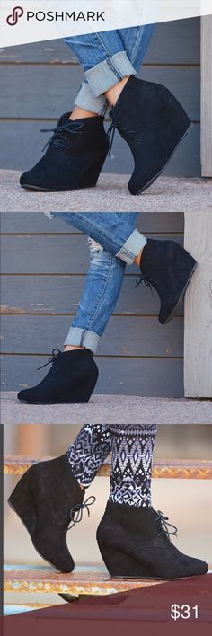 """Black Sally wedge lace up bootie A trendy treat for your feet! Lace up, vegan suede wedge booties. These booties have a comfortable fit and give your feet plenty of support!  Approx. Measurements: Wedge: 3"""", Height: 7"""", Opening: 12"""".  *Fit is true to size. Shoes Wedges"""