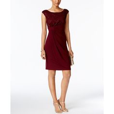 Connected Sequin Lace Faux-Wrap Dress ($79) ❤ liked on Polyvore featuring dresses, bordeaux, sequined dresses, white cocktail party dresses, sequin cocktail dresses, lace party dresses and sequin wrap dress