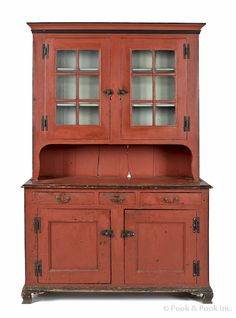 kitchen- Pennsylvania painted pine Dutch cupboard, ca. retaining a later salmon decorated surface, h. Primitive Cabinets, Primitive Furniture, Primitive Antiques, Country Furniture, Country Decor, Painting Antique Furniture, Shaker Furniture, Ikea Furniture, Painted Furniture