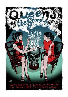 Affiche de Queens of the Stone Age à Calgary, le 3 mai 2008, au Stampede Corral.