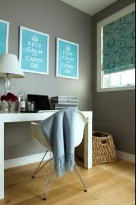 Jute interior Design    Chic, fun office design with gray walls paint color, glossy white West Elm Parsons Desk, turquoise blue & gray custom roman shade, Eames molded plastic side chair in white and keep calm & carry on framed posters prints