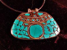 Tibetan Pendant - LARGE Tibetan Brass and Turquoise Mosaic Pendant on black Cord Necklace by ElegantJewelrybyJFK on Etsy