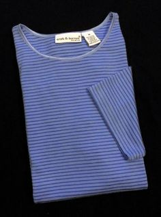 Croft Barrow Top Blue Sz M L Cotton Blend Stretch Striped Short Sleeve Crew Neck Casual - This womens cotton and rayon striped stretch  top features an elastic, satin effect, crew neck and short sleeves.