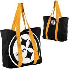 Pittsburgh Steelers Ladies Big Logo Tote - Black/Gold-love it Steelers Gear, Here We Go Steelers, Steelers Football, Steelers Apparel, Steelers Gifts, Steelers Stuff, Cincinnati Bengals, Pittsburgh Steelers Merchandise