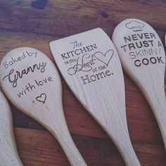 Wooden spoons laser engraved with a personal message or name. Designed and for sale at Triton Copy. Perfect for a unique Christmas present. @TritonCopy #lasercut #lakemacquarielasercutting #lakemacqua (Baking Tools Unique)