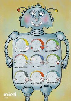 Tunnerobotti | MIELI Suomen Mielenterveys ry Teaching Kids, Kids Learning, Learn Finnish, Social Skills For Kids, Behaviour Management, Kids Behavior, Early Childhood Education, School Holidays, Special Education
