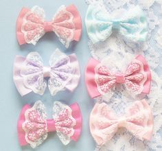 Pastel lace bows, loli, Lolita and kawaii hair accessories Pastel Fashion, Kawaii Fashion, Lolita Fashion, Mode Kawaii, Kawaii Shop, Kawaii Accessories, Vetement Fashion, Lace Bows, Lace Ribbon