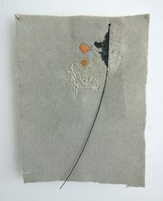 Richard McVetis,Grey with orange spot Hand stitch on wool. 24cm x 30cm.