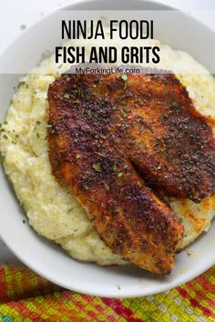 One pot fish and grits made in the Ninja Foodi Pressure Cooker with Air Crisp. The grits are smooth and creamy while the fish is cooked to perfection. #ninjafoodi #ninjafoodirecipe #onepotrecipe #fishandgrits #myforkinglife