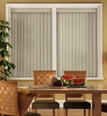 Smudge vinyl in Willow Our PVC Vertical Blinds can transform any window from drab to fab! Available in a variety of light filtering colors, this window solution is a fantastic alternative to drapes. This treatment comes standard with a coordinating valance and sewn in bottom weights.