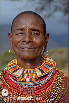 Image detail for -Old Samburu woman wearing colorful tribal ornaments of bead necklaces ...