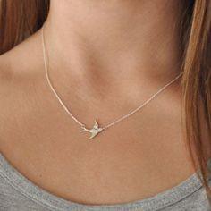 Silver Plated Retro Sparrow Necklace Swallow Bird Centered - Delicate Women Necklace XL174