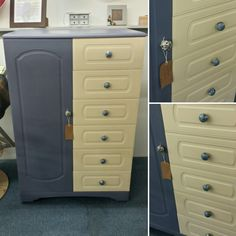 Children's wardrobe painted in Annie Sloan Old Ochre and Old Violet.