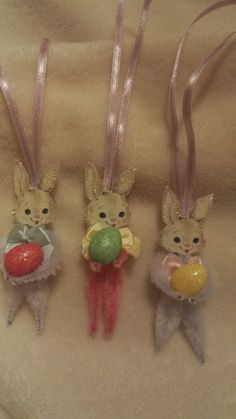 Easter Decorations Vintage Style Chenille Easter Bunny Rabbits