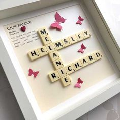 Items similar to Family name scrabble frame with butterfly embellishments in a choice of colours, personalised scrabble art, scrabble picture on Etsy Dad Birthday Cakes, 80th Birthday Gifts, Birthday Box, Birthday Ideas, Scrabble Frame, Scrabble Art, Scrabble Tiles, Customized Gifts, Personalized Gifts