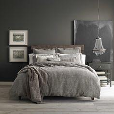 Wamsutta Vintage Paisley Linen Duvet Cover In Grey