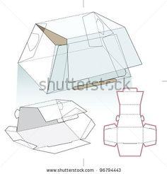 One Chocolate Piece Box And Cut Pattern