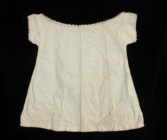 girl's chemise, white cotton and linen, scalloped neckline, 1859-1861