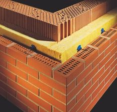 The construction of brick walls with insulation Brick Cladding, Brick Facade, Brickwork, Building A Brick Wall, Building A House, Concrete Block Walls, Brick Walls, Insulated Concrete Forms, Brick Design